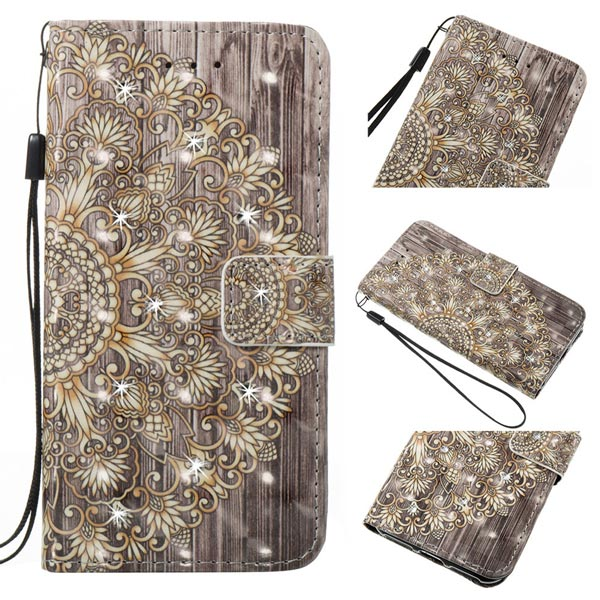 Diamond Leather Pattern Wallet Case Stand Cover