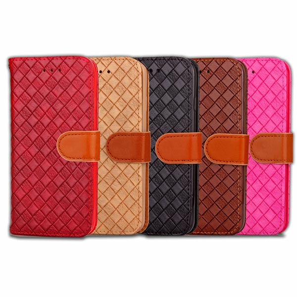 Weave Pattern Flip Wallet PU Leather Cover Stand Case