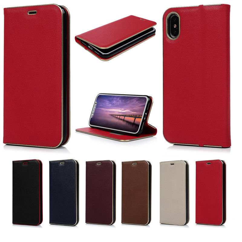 Pure Color Wrapping TPU Inner PU Leather Wallet Case Cover For iPhone X