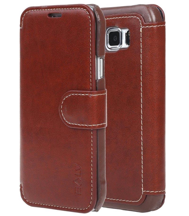 Leather Flip Folio Wallet Ultra Slim Card Brown Case